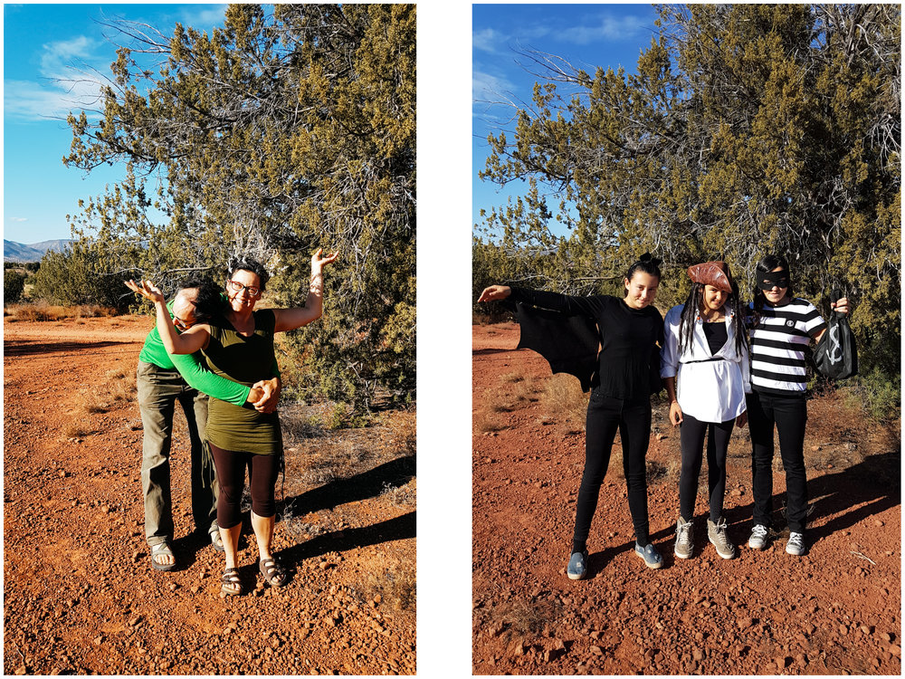 We celebrated Halloween in Sedona. I was a tree (and JF a tree hugger) and the girls were a bat, a pirate and a jail escapee who had just robbed a bank.
