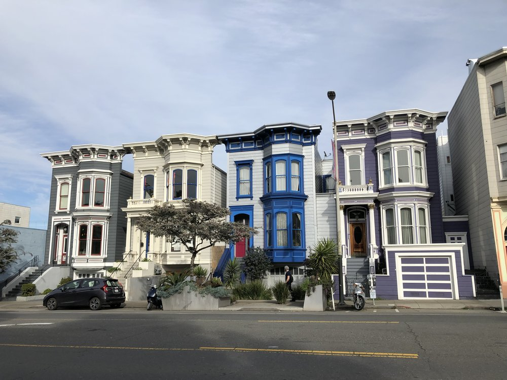 Beautiful San Francisco houses on Valencia Ave in the Mission District.
