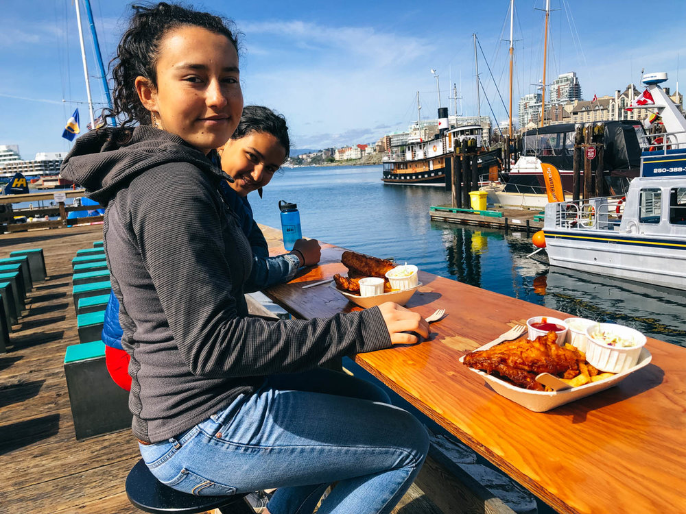 The best fish and chips are at Blue Fish Red Fish (well-worth the line!).