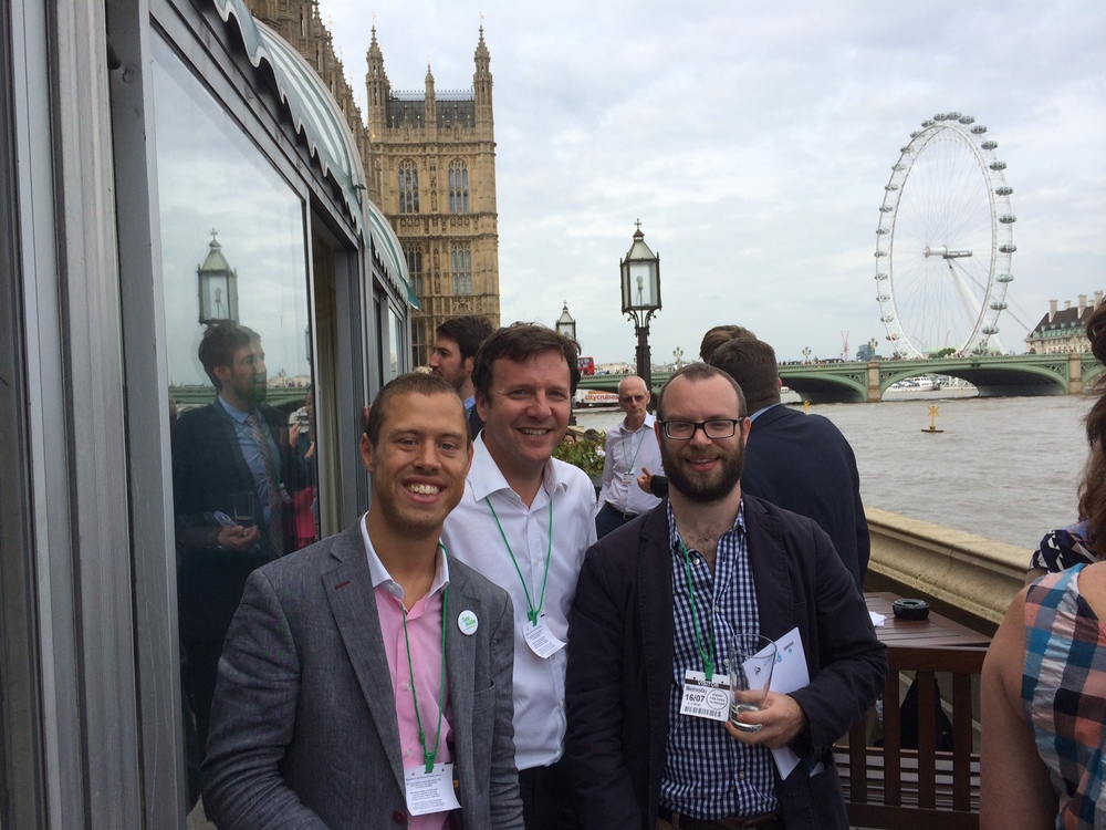 James at Parliament, alongside Michael Eder and Luke Mitchell, Head of Insight at Voxburner