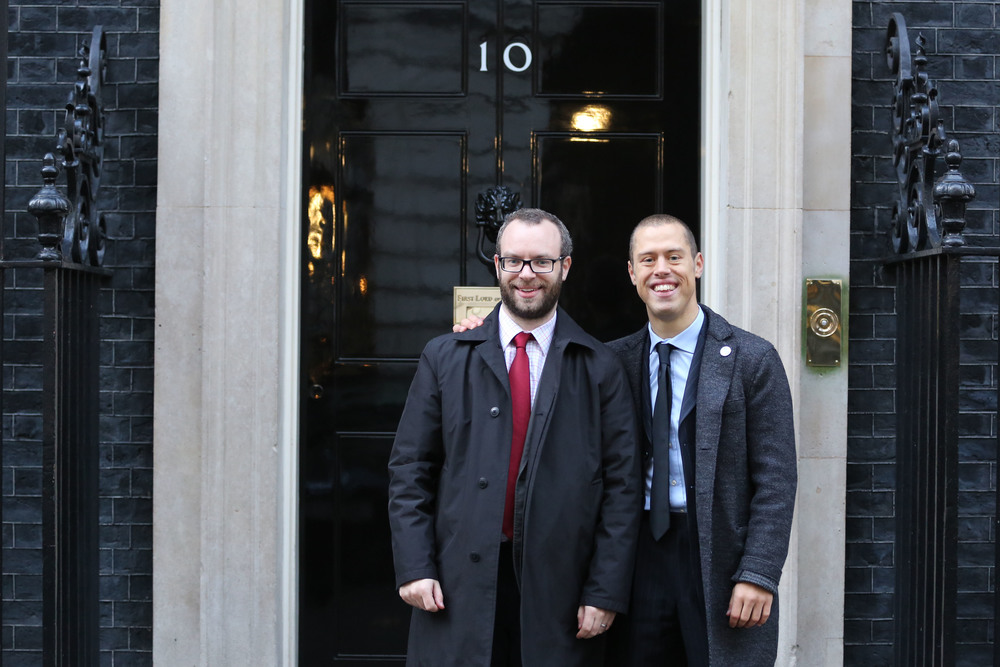 Michael and James Eder outside Number 10