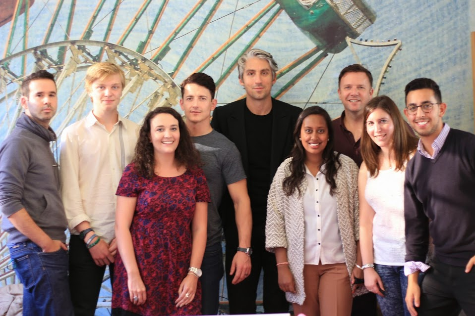 George Lamb, host of the Youth 100 Awards, with the Voxburner team