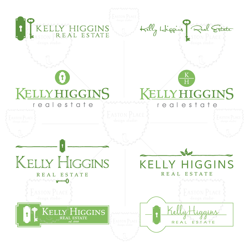 a sampling of logo designs submitted to client