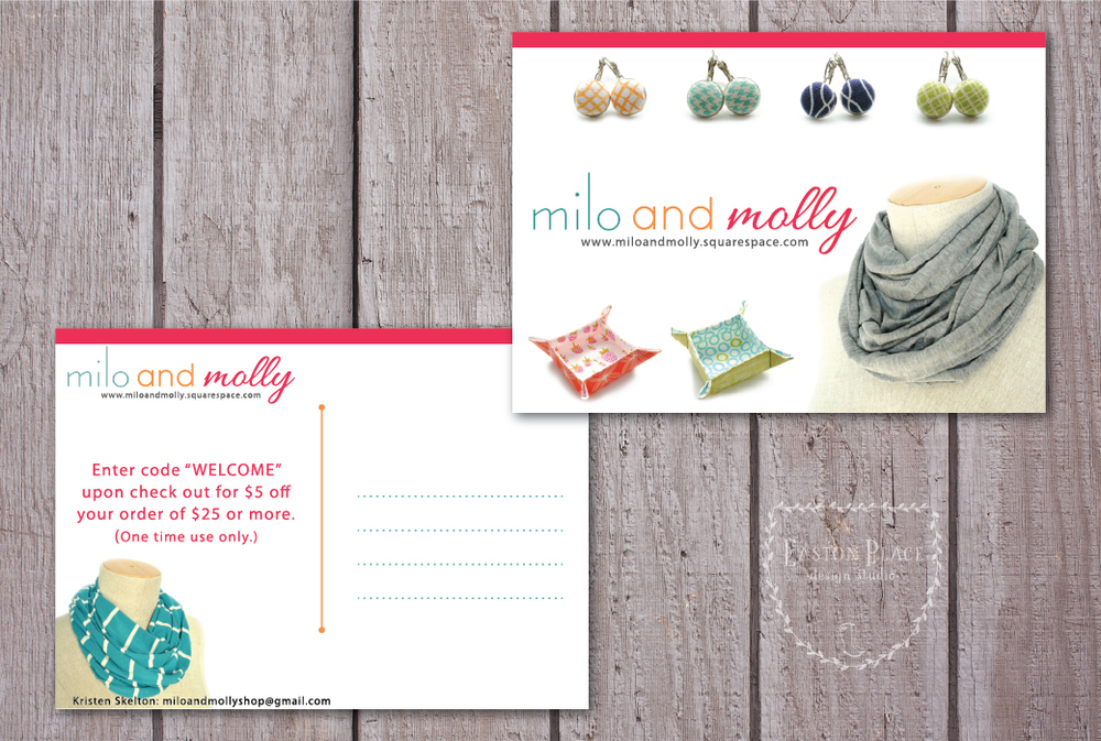 This two-sided postcard design features the fun goods from Milo and Molly!