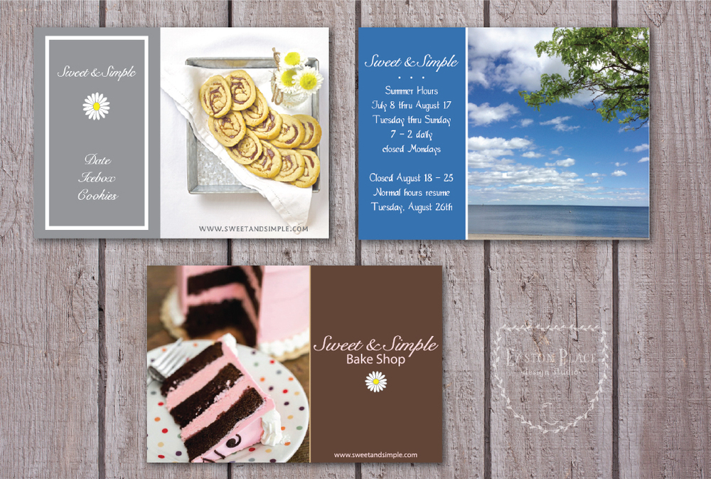 A few custom postcards designed for Sweet & Simple Bake Shop.