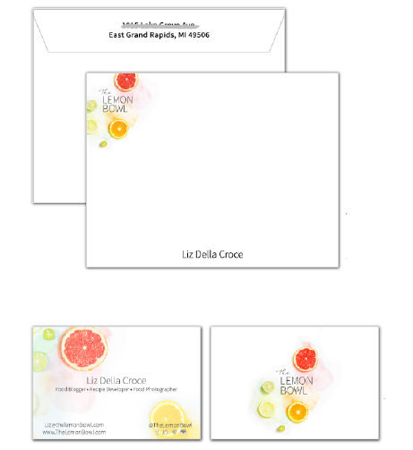 Stationery with printed envelopes, and double-sided business cards for The Lemon Bowl!