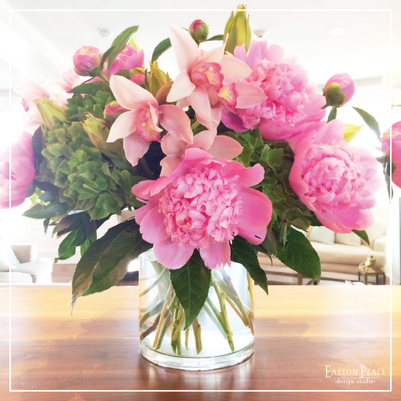 Peonies, Pink Daffodils, Green Hydrangeas and Lilies... Perfect!