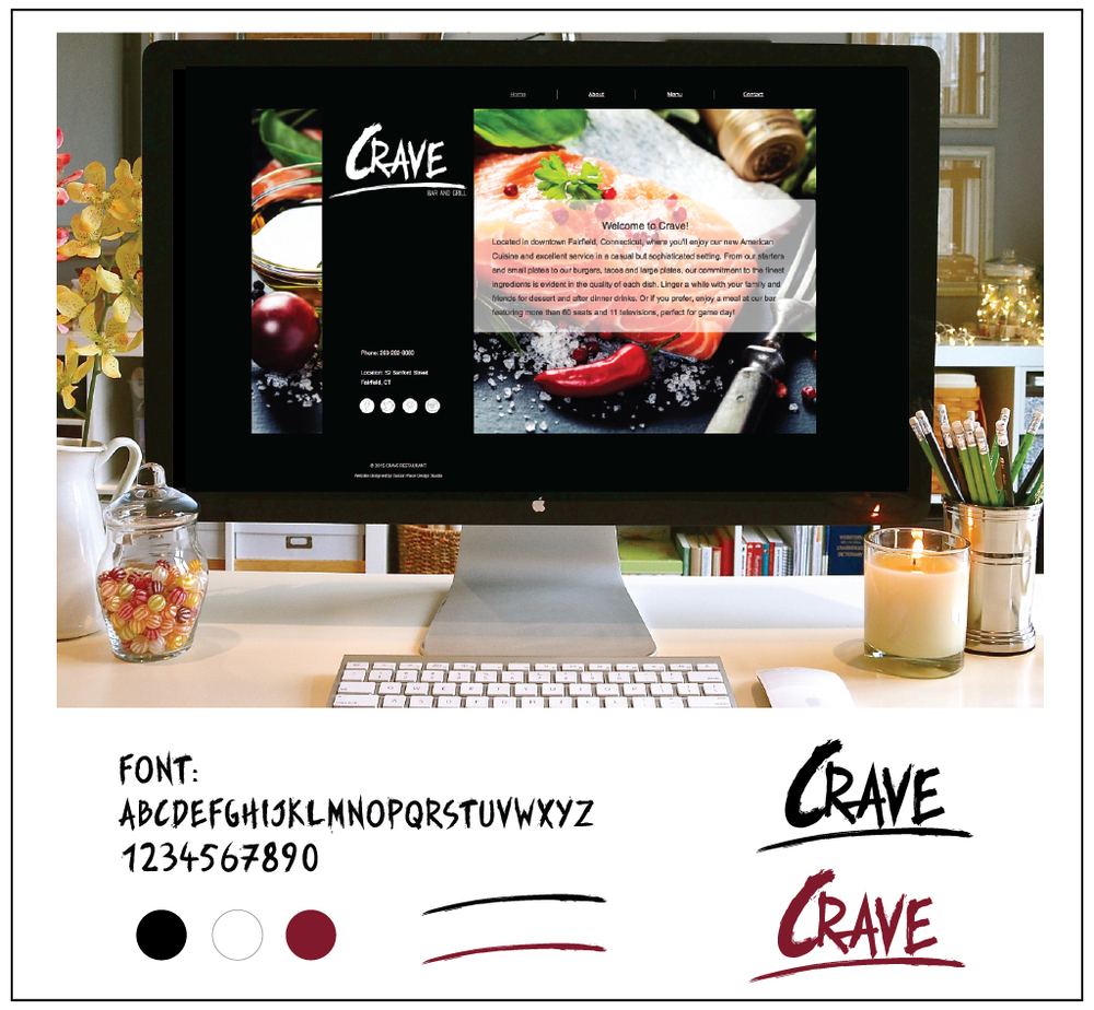 CRAVE restaurant logo elements and web design