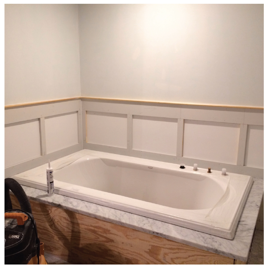 soaker tub and raised panels go in