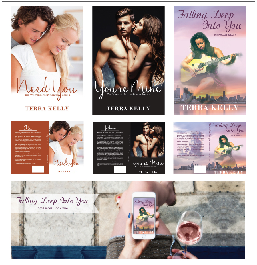 Book cover designs and fb & twitter headers for Author Terra Kelly