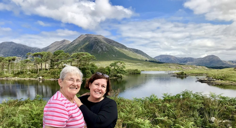My mom and me with the gorgeous backdrop of Ireland.