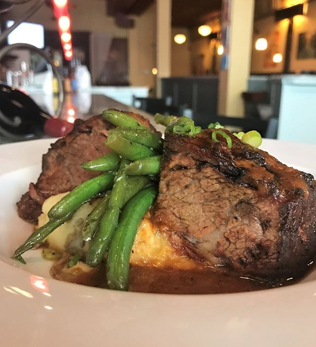 This week's special is Braised Short Ribs with Creole Tomatillo Demi Glaze over Roasted Garlic Fresh Herb Mashed Potatoes and Green Beans. Come see us for dinner before The Little Mermaid this weekend.
