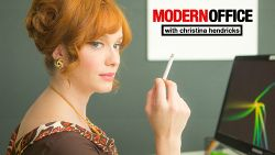 Smoking, drinking and faxing with Christina Hendricks in the Modern Office.