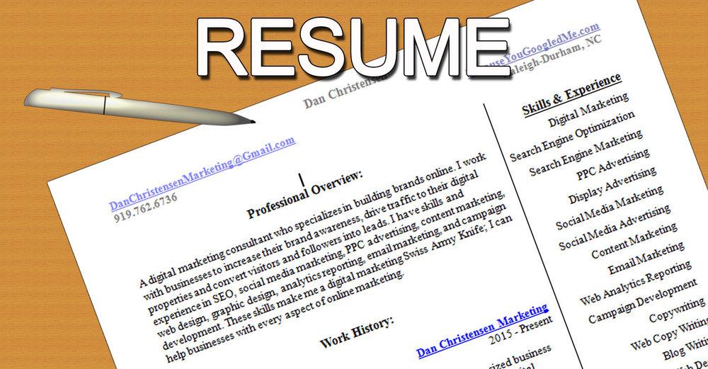 Resume Digital Marketing Freelancer Dan Christensen