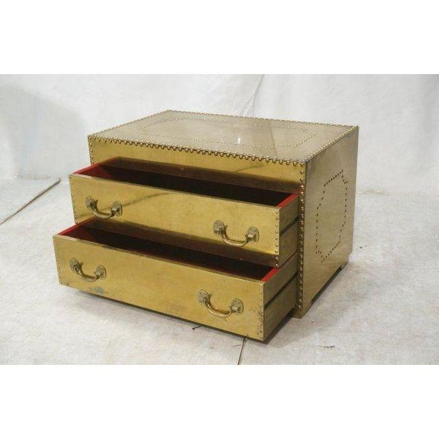 Brass Two Drawer Trunk Coffee Table With Nailhead Trim   ON HOLD