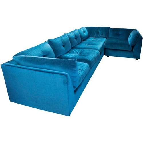 Mid Century Blue Velvet Sectional Sofa - Mid Century Blue Velvet Sectional Sofa — South Loop Loft