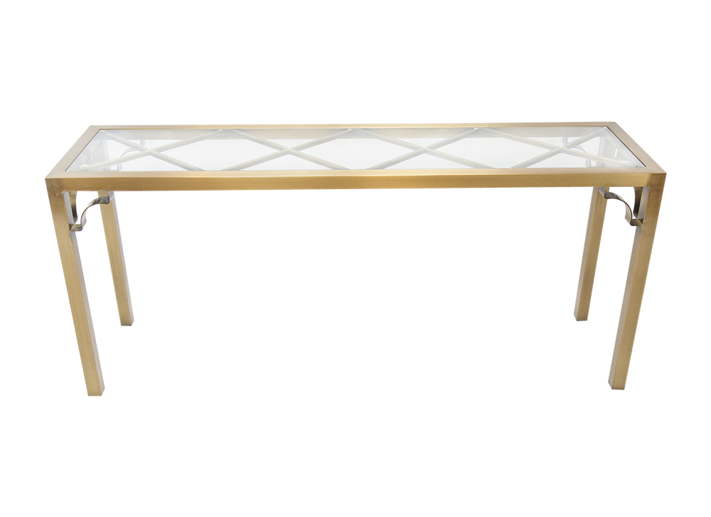 Mastercraft Brass Chippendale Console Table South Loop Loft