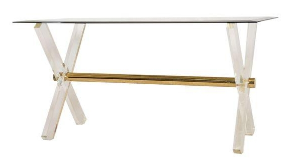 Lucite And Brass X Base Desk Or Dining Table Base