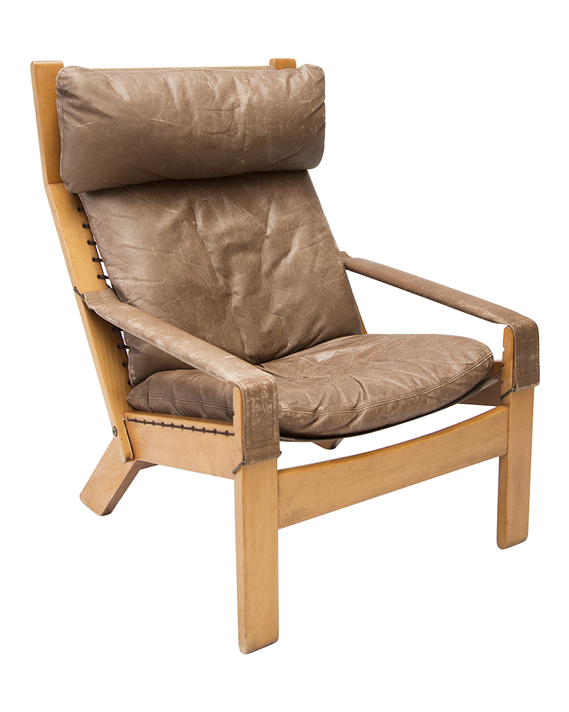 Mid Century Leather Reclining Lounge Chair By Sigurd Ressell