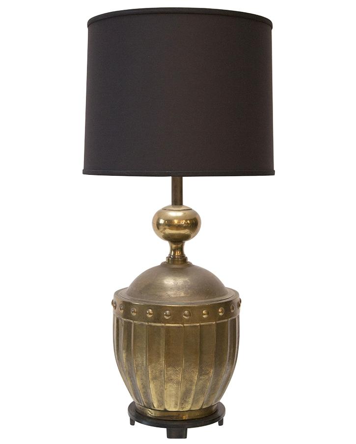 Stiffel Patinated Brass Large Drum Lamp