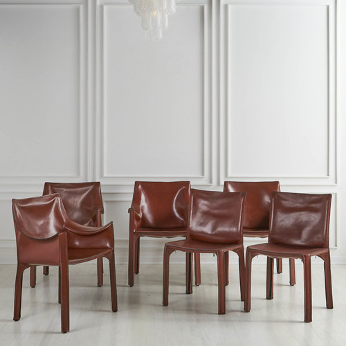 Set Of 6 Mario Bellini For Cassina Leather Cab Dining Chairs South