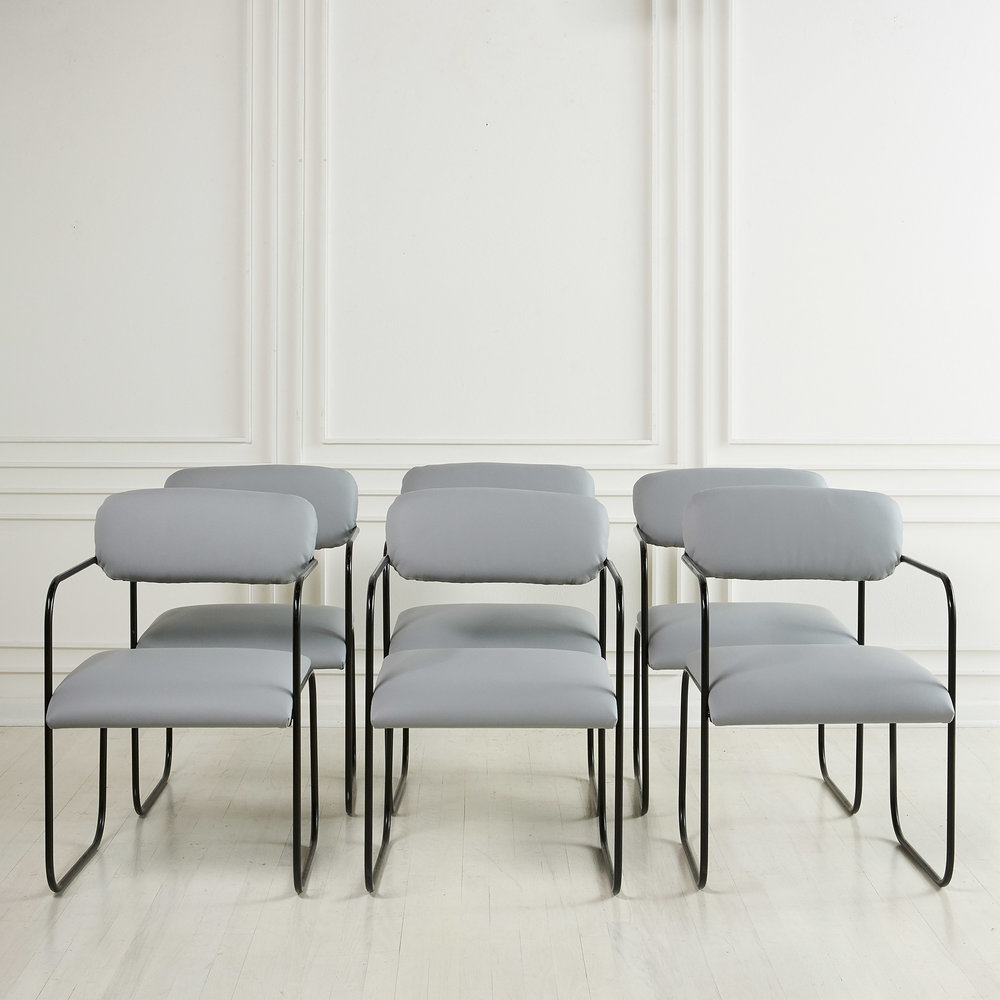 George Veronda For Roger Brown, Set Of 6 Dining Chairs In Italian Leather
