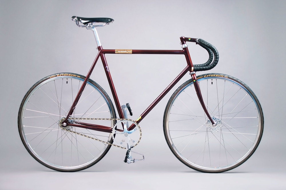 An example of a classic track bike on a handbuilt Reynolds 631 Frame