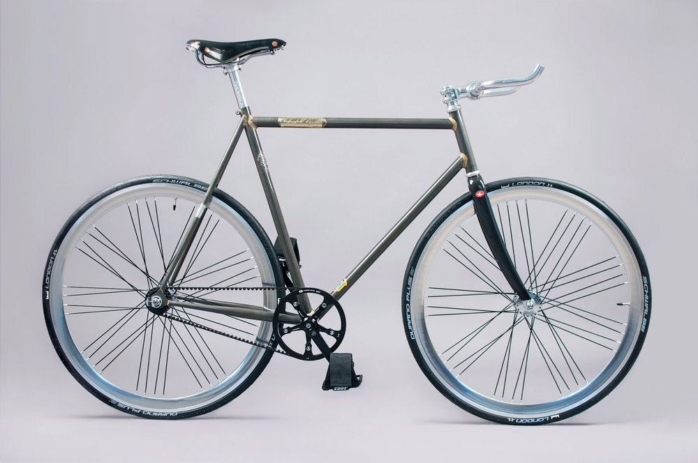 A modern Gates Carbon Drive Fixed Gear commuter on a Fillet Brazed Reynolds 631 frame