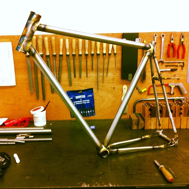 Kris's frame before finishing and painting