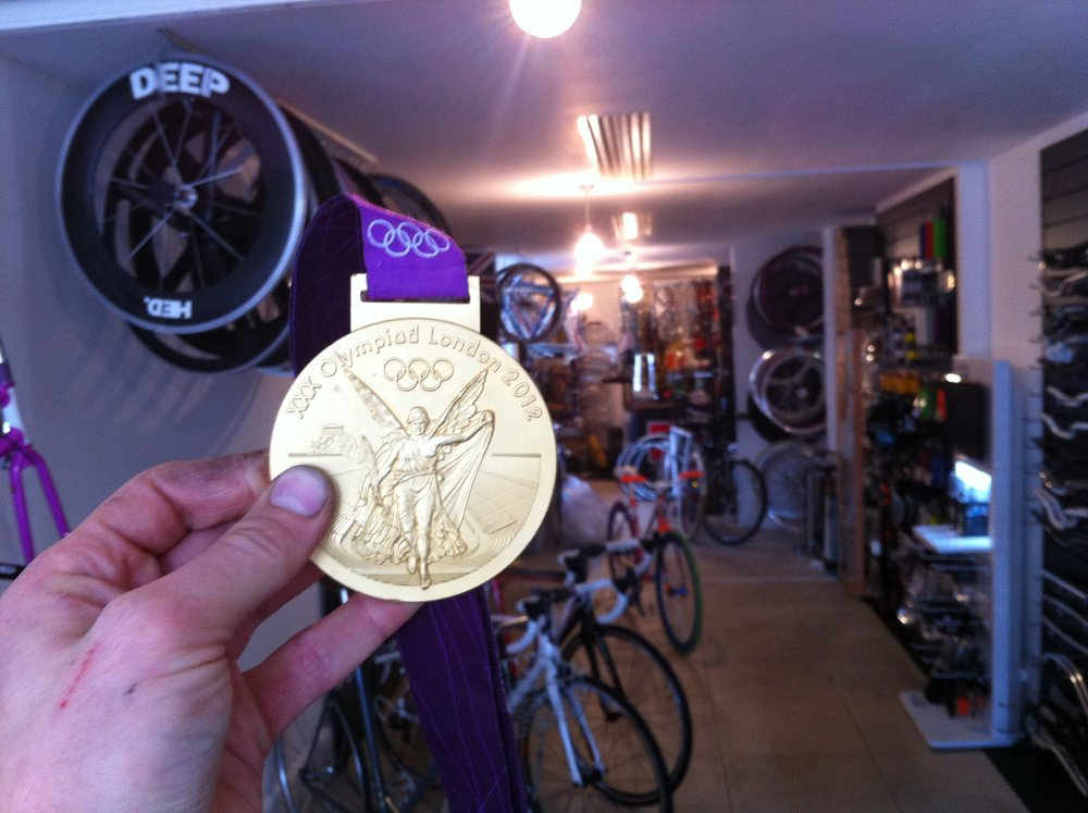 Gold Medal Winners Shopping at Cloud 9 Cycles, London 2012