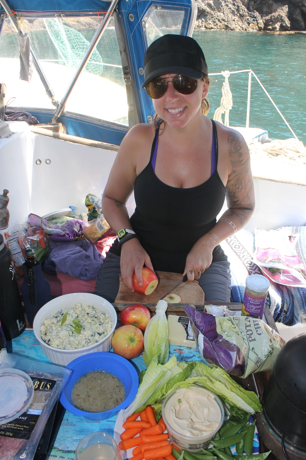 On a recent sailing trip we only have 8 people to feed. We kept it simple; Lauren and I cooked, everyone else ate!