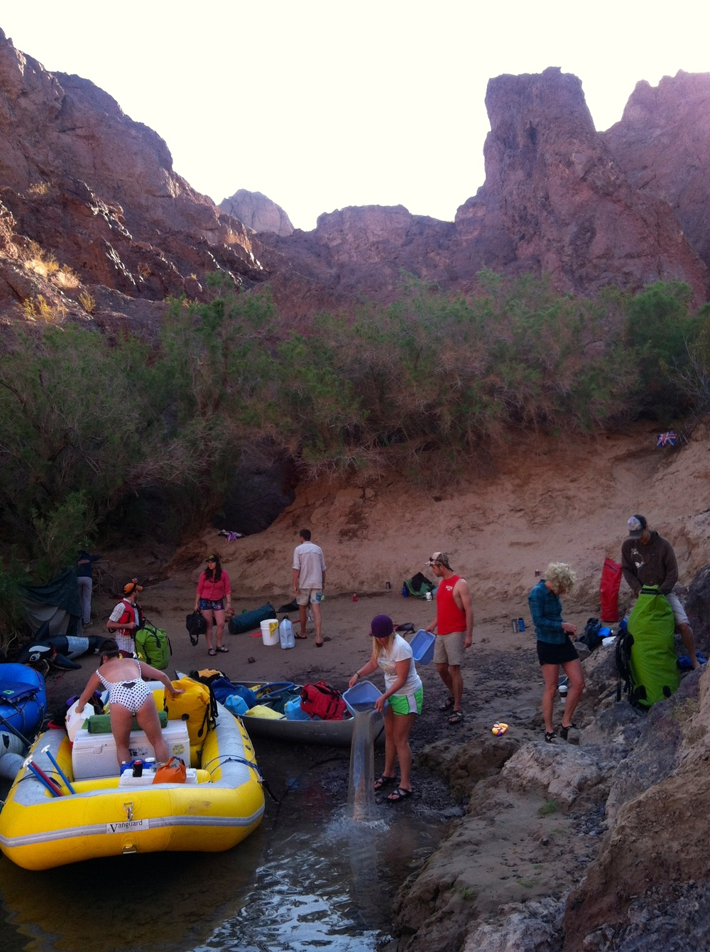 Breaking down the kitchen before we float. You definitely don't want to over pack on a river trip!