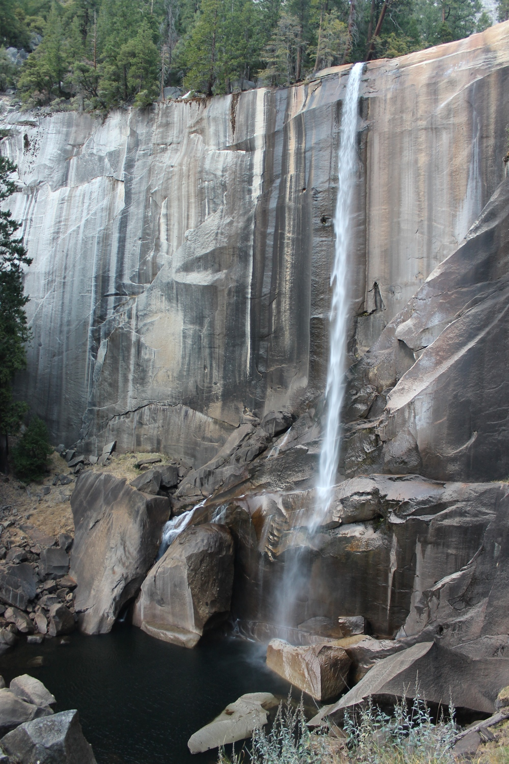 Vernal Fall. A small trickle at the (hopefully) end of a couple drought years.
