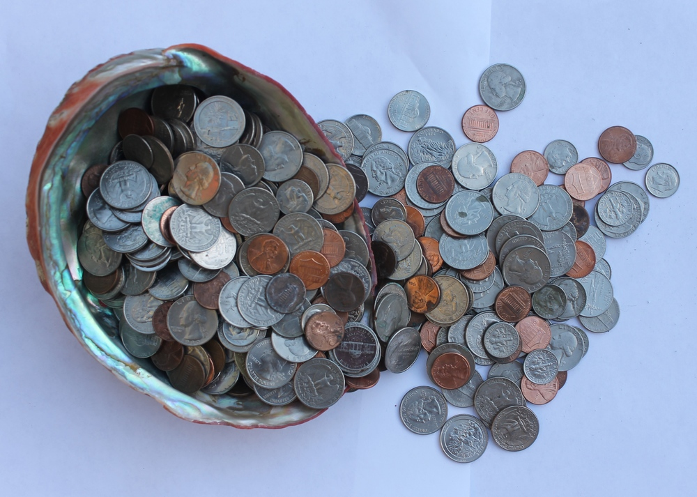 An abalone shell worth of change. Paid for a fishing license and then some.
