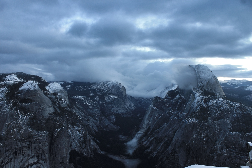 A moody Half Dome (Clouds Rest is in the clouds behind it)