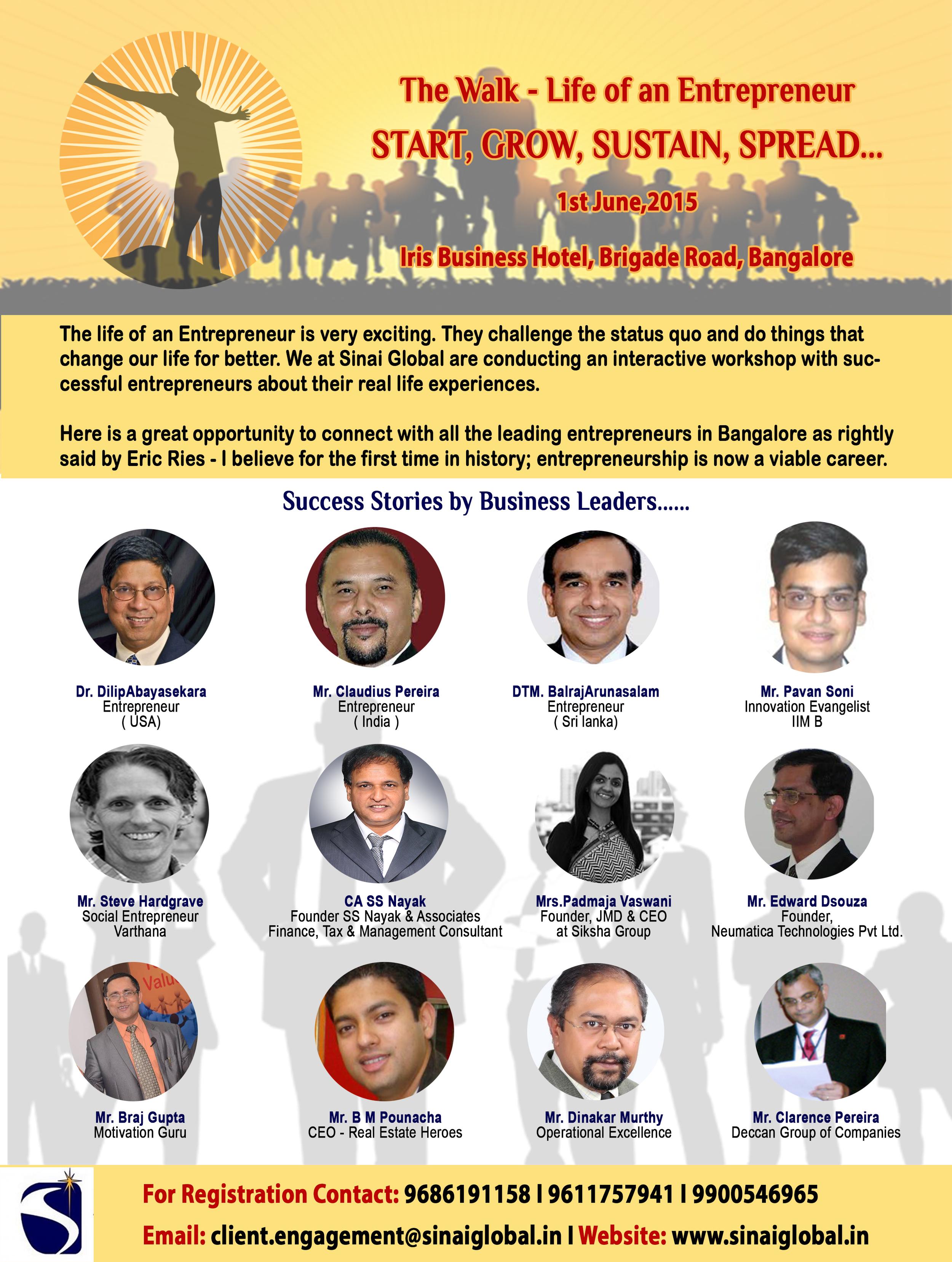 June 1, 2015 Entrepreneur Conference, Bangalore, India