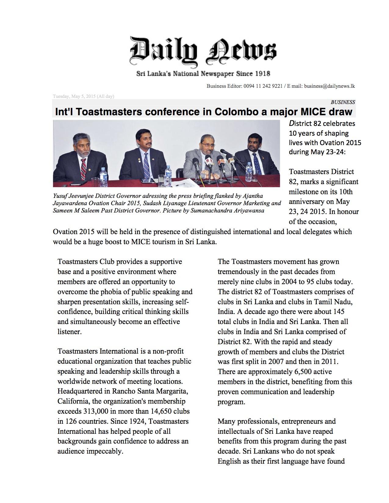 Sri Lanka Daily News Article May 5, 2015