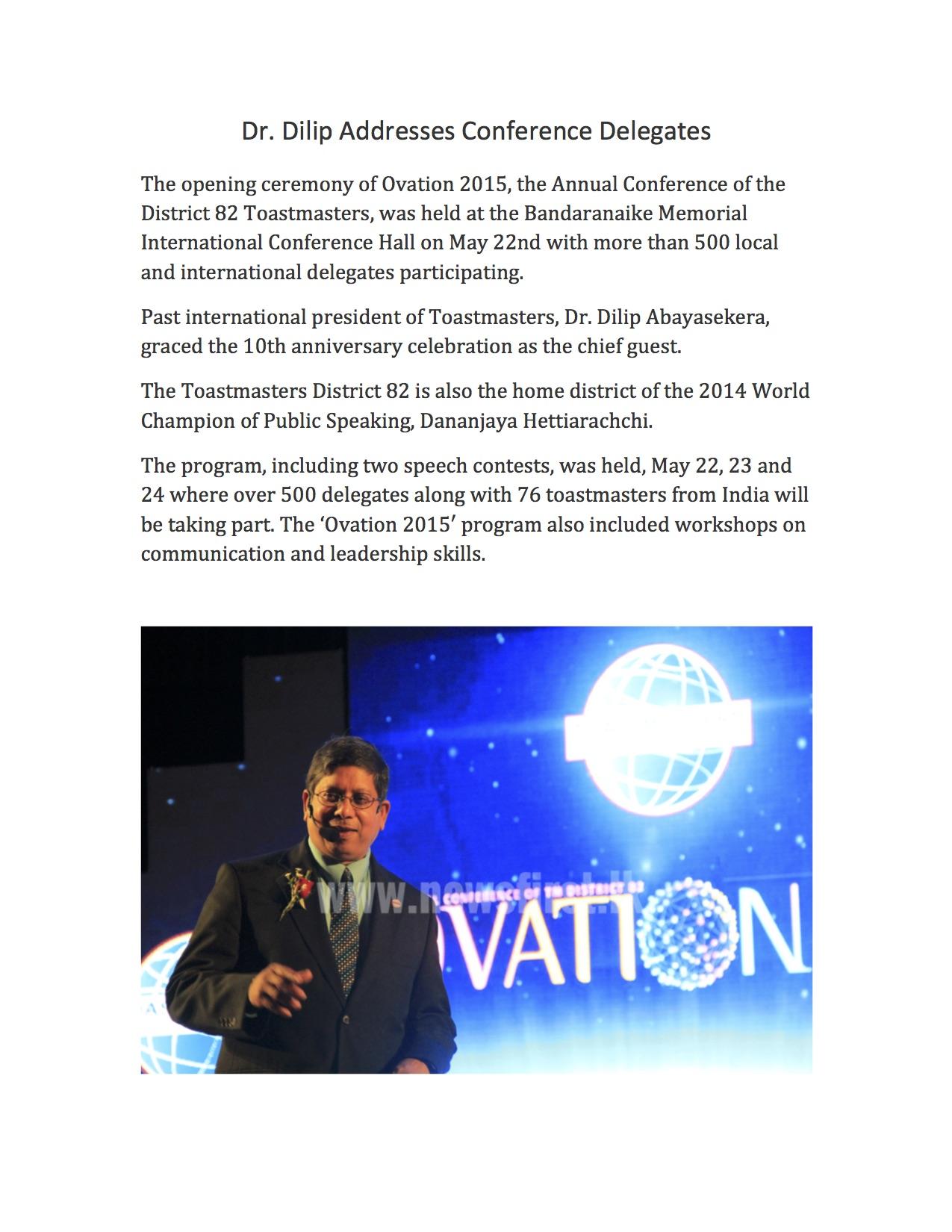 Keynote Address, Toastmasters Conference, May 22, 2015, Sri Lanka