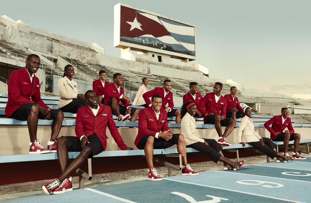 Cuban athletes model their opening ceremony ensembles. Photo: Christian Louboutin