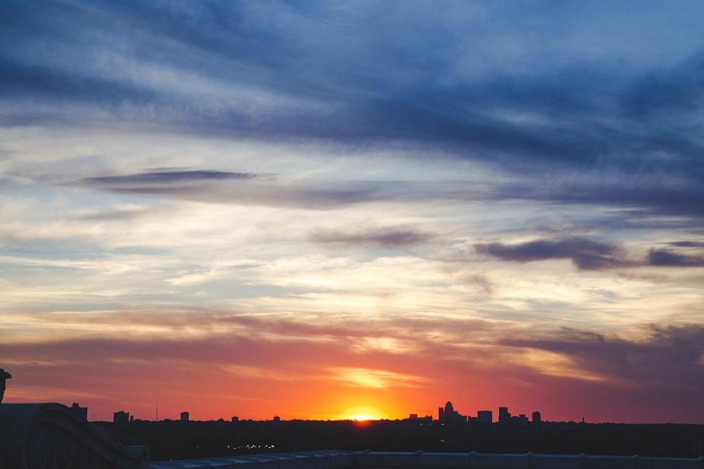 An incredible sunset over the Clayton skyline took us into savasana.