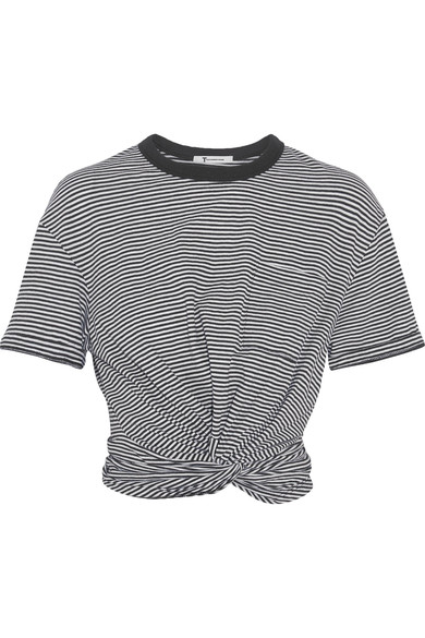 T by Alexander Wang cropped twist-front striped cotton-jersey T-shirt, $175