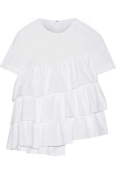 Co asymmetric ruffled cotton-poplin top, $325