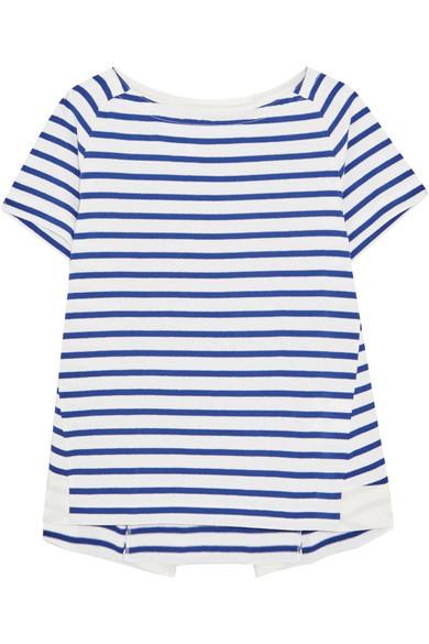 Sacai Dixie grosgrain-trimmed striped cotton-jersey T-shirt, $260