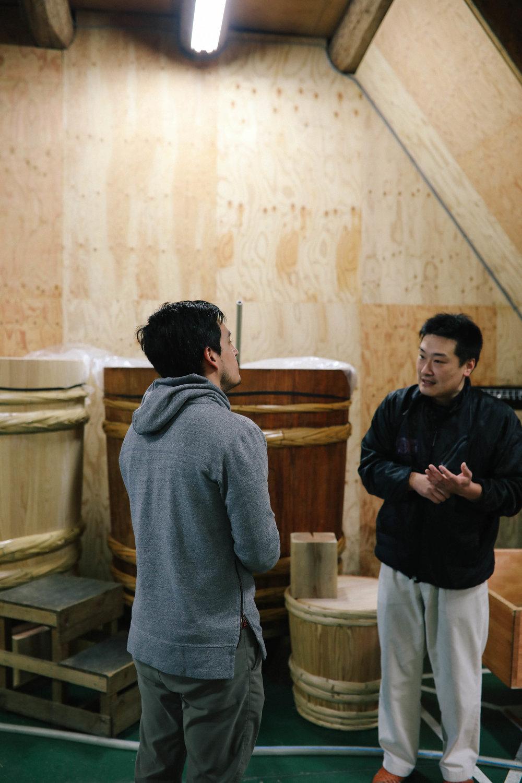 Learning about sake production in Yoshino, Japan