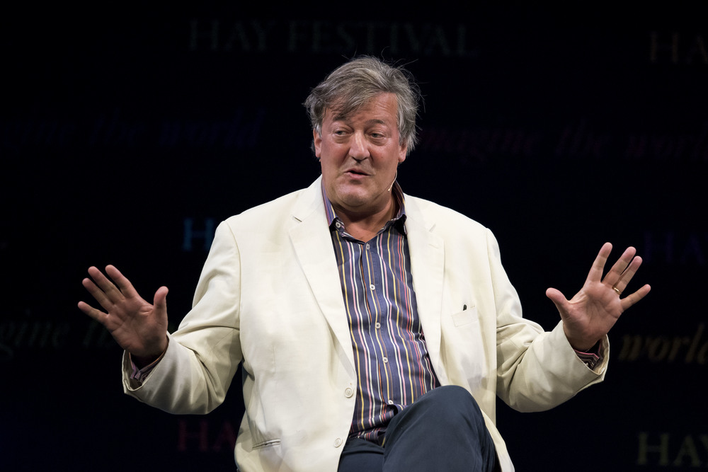 Stephen Fry at Hay Fetsival in Hay-on-Wye, Wales. (Photo by Matthew Horwood)