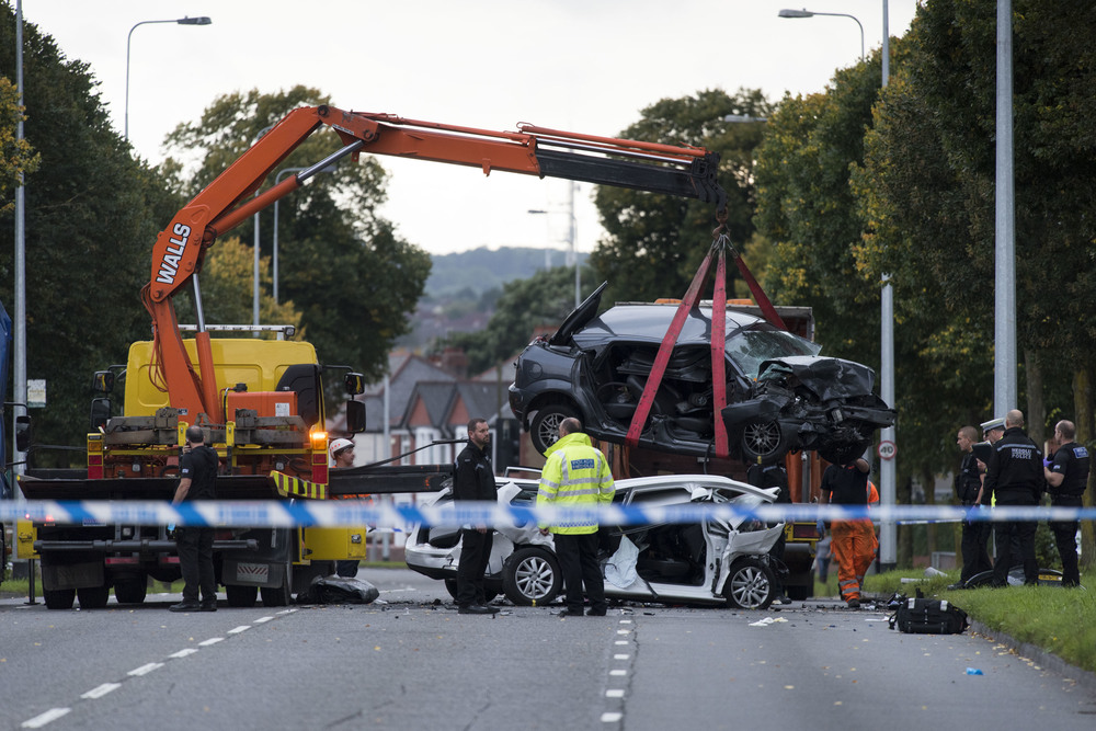 A five-year-old boy has died following a three-car-crash on Western Avenue in Cardiff, South Wales at 11.30am Sunday morning. A number of casualties were taken to University Hospital of Wales including a two year old girl. (Photo by Matthew Horwood/Wales News Service)