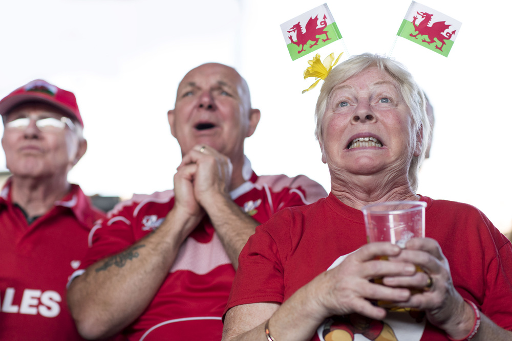 Wales rugby fans watch the Wales v Fiji Rugby World Cup match at the Cardiff Fan Zone at Cardiff Arms Park.