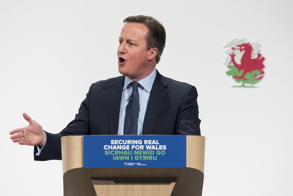 LLANGOLLEN, DENBIGHSHIRE - MARCH 11: British Prime Minister David Cameron speaks at the Welsh Conservative Party Conference 2016 at the Royal Llangollen Pavilion on March 11, 2016 in Llangollen, Denbighshire. Elections for the National Assembly in Wales will be held on May 5, 2016. (Photo by Matthew Horwood)