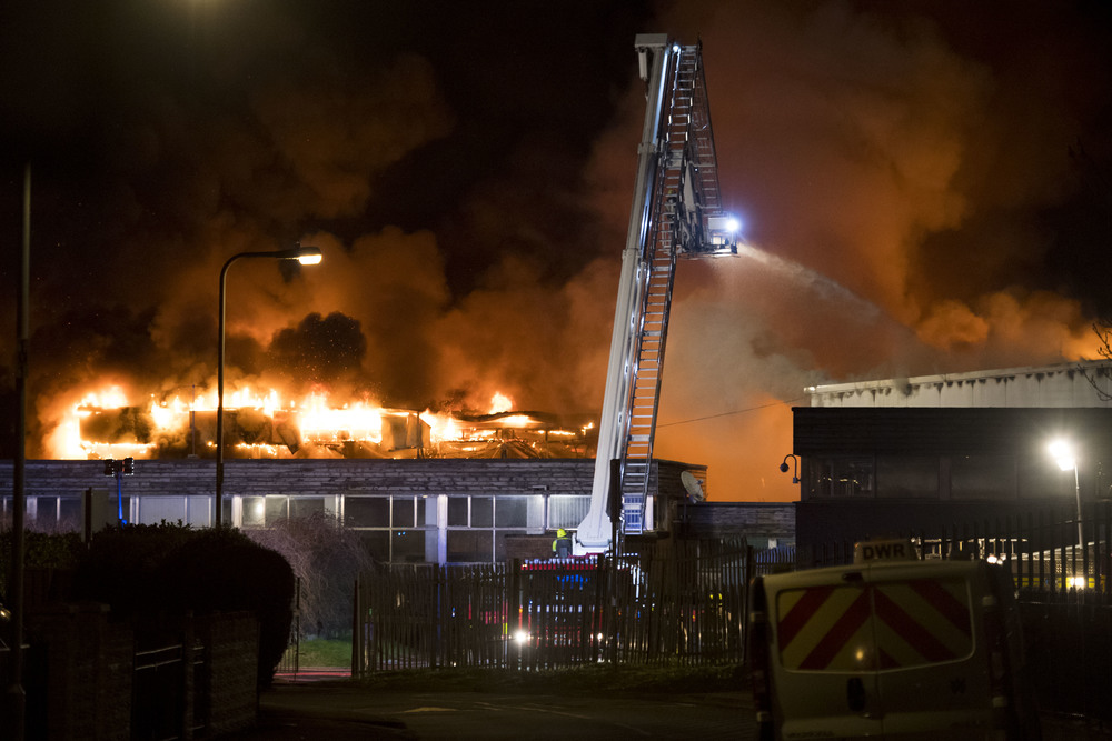 Fire at Glyn Derw High School, Ely. (Photo by Matthew Horwood)