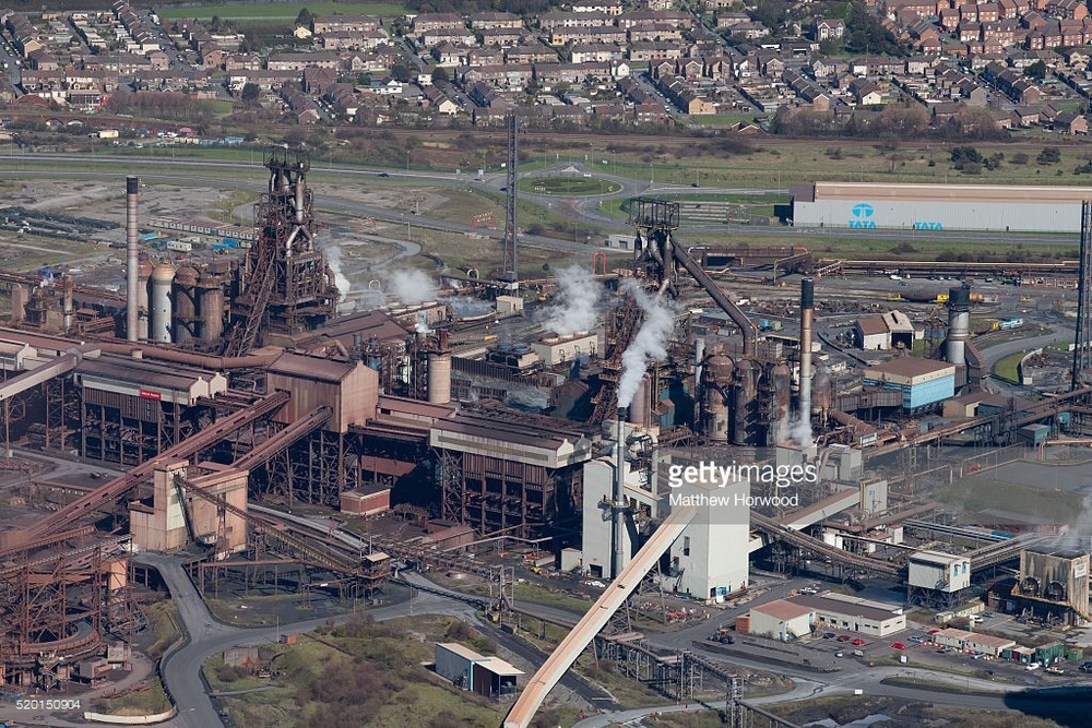A general aerial view of Tata steel on April 9, 2016 in Port Talbot, Wales. Indian owned Tata steel has threatened to pull out of all its UK operations putting 4000 UK jobs at risk. Liberty House, run by Sanjeev Gupta, is the only company to publicly express an interest in Tata's plants. Business Secretary Sajid Javid has said the sale process for the steelworks will start on Monday.